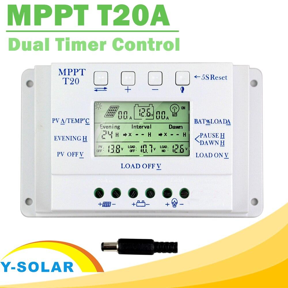 LCD Display 20A MPPT 12V/24V Solar Panel Battery Regulator Charge Controller for Lighting System Load Light and Timer Control
